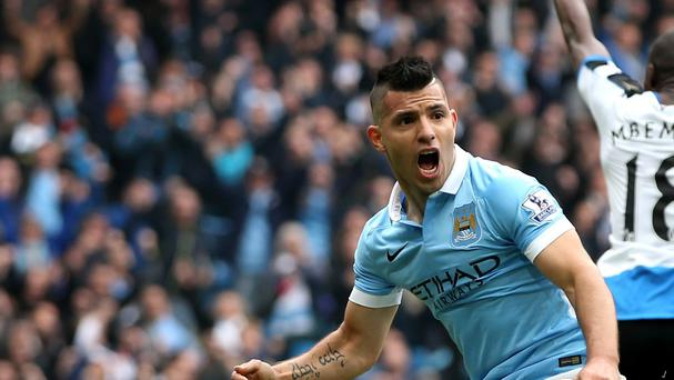 Manchester City's Sergio Aguero netted five times as his side thrashed Newcastle 6-1
