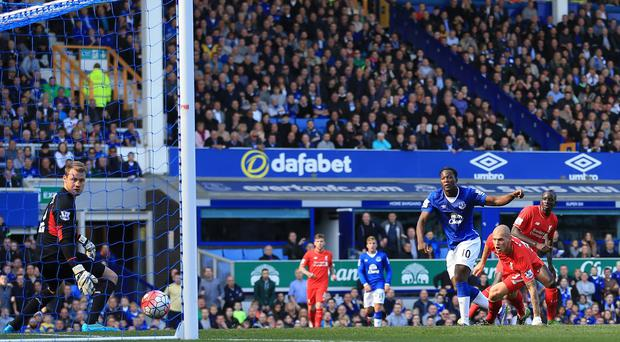 Everton's Romelu Lukaku was on target against derby rivals Liverpool