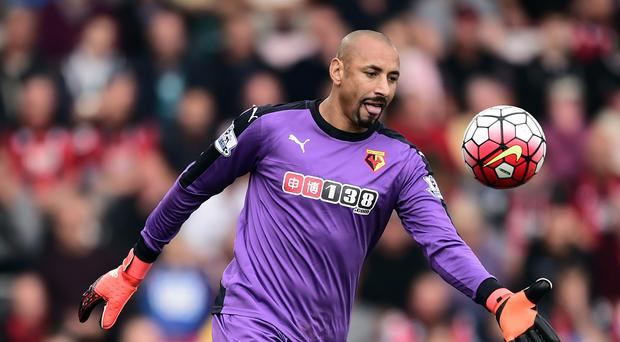 Heurelho Gomes, pictured, saved Glenn Murray's penalty at Bournemouth