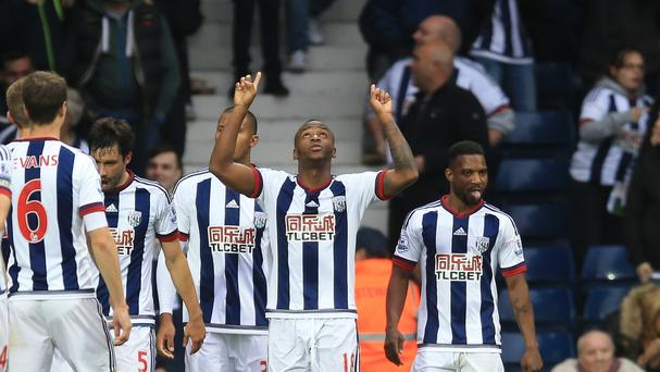 Saido Berahino (centre) celebrates scoring the winning goal in West Brom's 1-0 win over Sunderland.