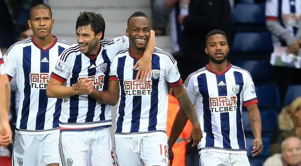 West Brom's Saido Berahino, centre, celebrates his winner in their 1-0 victory over Sunderland