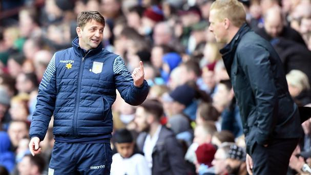 Swansea manager Garry Monk feels Tim Sherwood should be given time to revive Aston Villa's fortunes.