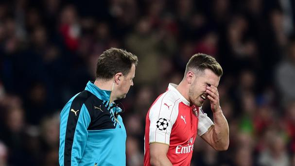 Arsenal midfielder Aaron Ramsey (right) suffered a hamstring injury against Bayern Munich and is set for around a month on the sidelines.