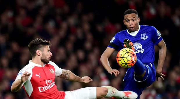 Arsenal's Olivier Giroud, left, was on target in the 2-1 Premier League win over Everton.