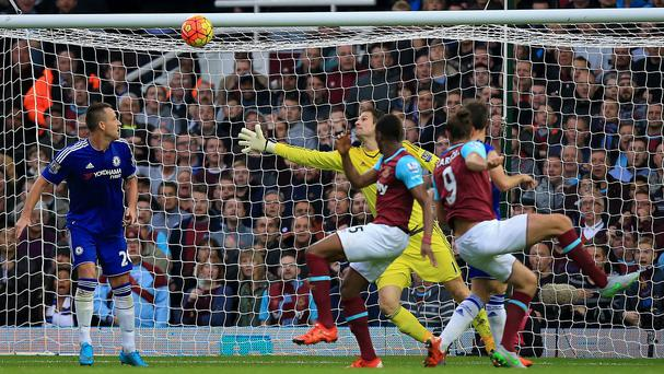 Andy Carroll, right, scored his first goal since January as West Ham beat Chelsea