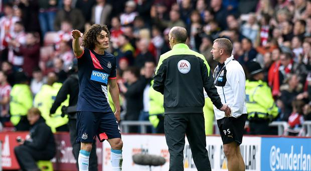 Fabricio Coloccini, far left, was sent off during the Tyne-Wear derby on Sunday