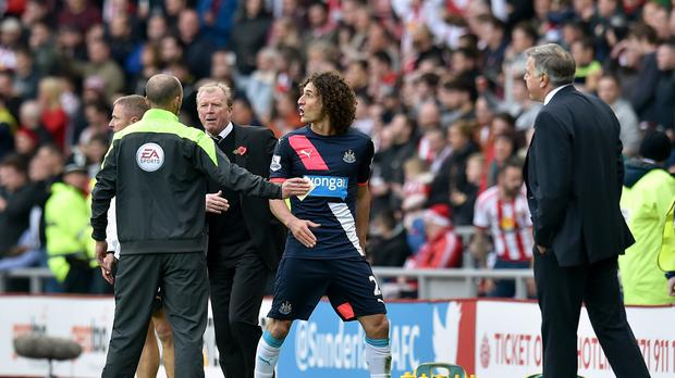 Fabricio Coloccini was sent off against Sunderland but later saw his red card rescinded