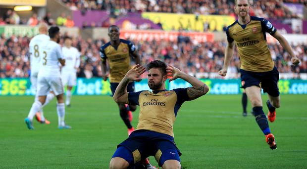 Arsenal's Olivier Giroud netted his side's first goal in their 3-0 win at Swansea