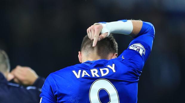 Jamie Vardy celebrates after Leicester's 3-2 win over West Brom as he scored for the eighth straight game