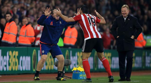 Southampton's Graziano Pelle, centre, celebrates his goal against Bournemouth