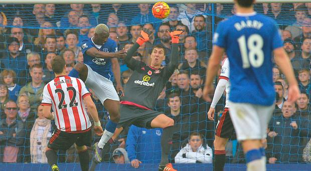Three and easy: hat-trick hero Arouna Kone scores for Everton