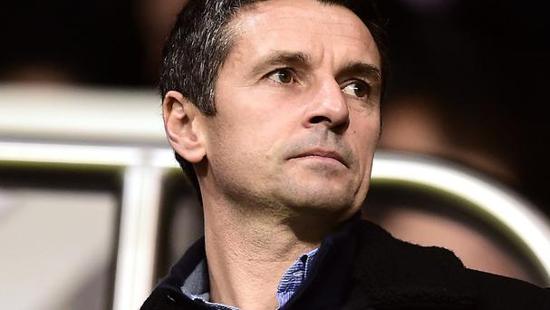 Aston Villa's new manager Remi Garde watched his new charges from the stands as they lost to Tottenham