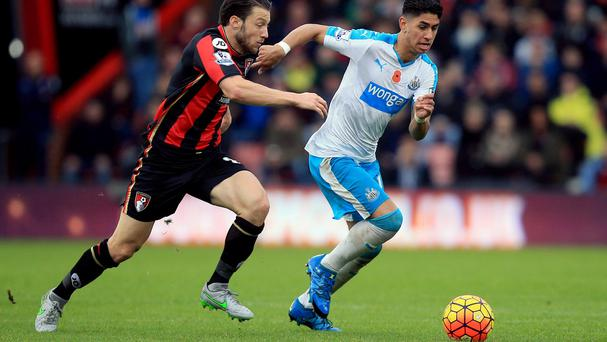 Ayoze Perez, right, scored the only goal of the game for Newcastle