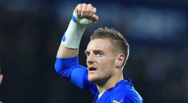 Jamie Vardy got his name on the scoresheet for the ninth consecutive Barclays Premier League match