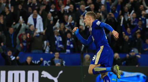 Leicester's Jamie Vardy netted from the spot against Watford
