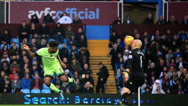 Manchester City's Raheem Sterling is denied by Brad Guzan in the 0-0 draw at Aston Villa.
