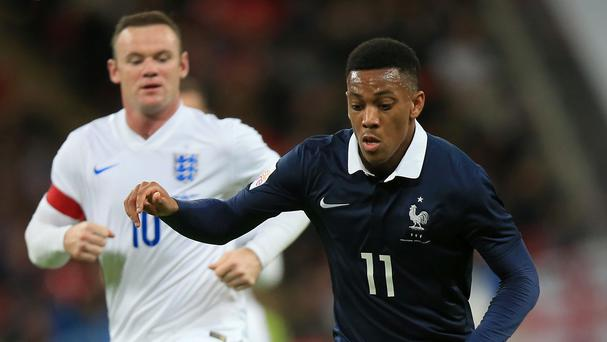 Anthony Martial during France's defeat to England on Tuesday