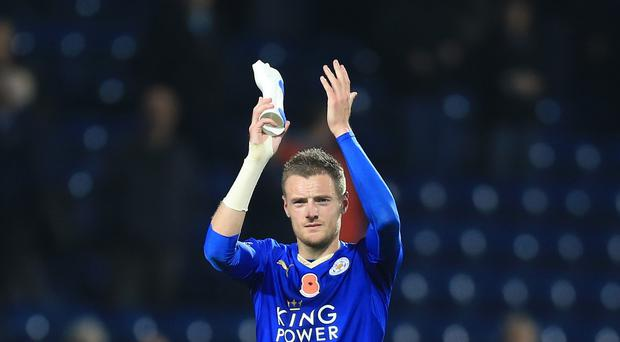 Leicester City's Jamie Vardy has scored in nine straight league games for the Foxes.