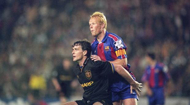 Mark Hughes, left, always gave Ronald Koeman, right, a hard time on the pitch