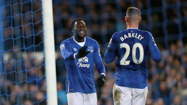 Romelu Lukaku (left) and Ross Barkley (right) each scored a brace in Everton's 4-0 win over Aston Villa.