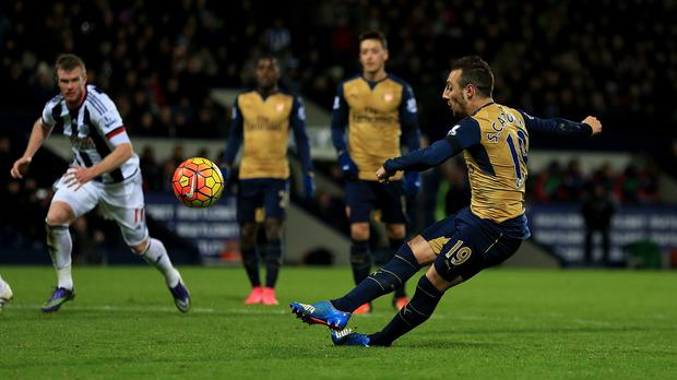 Arsenal's Santi Cazorla slips and misses his penalty in the Gunners' 2-1 defeat at West Brom