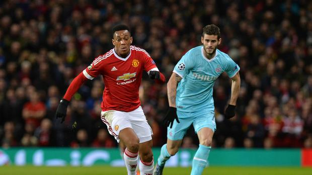 Manchester United's Anthony Martial failed to score against PSV in the Champions League on Wednesday.