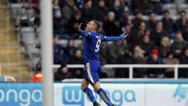 Leicester striker Jamie Vardy took his place in the record books with an 11th consecutive Premier League goal