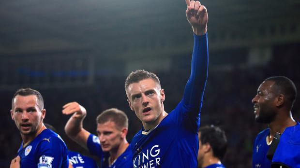 Leicester's Jamie Vardy scored for the 11th straight game, setting a new Premier League record