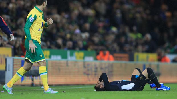 Santi Cazorla suffered a knee injury during last weekend's draw at Norwich.