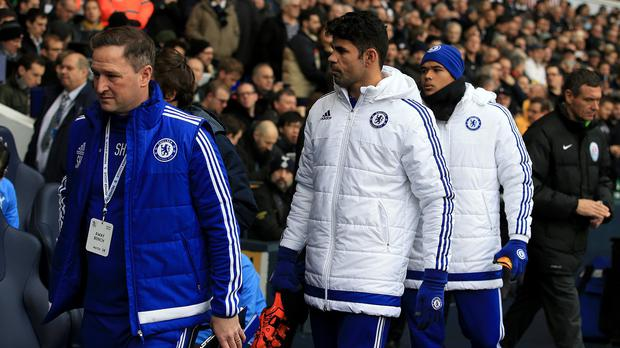 Diego Costa was among the Chelsea substitutes against Tottenham