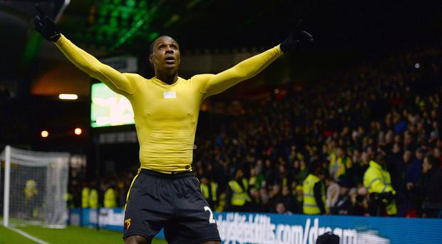 Odion Ighalo celebrates after scoring Watford's second goal of the afternoon