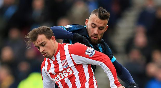 Stoke's Xherdan Shaqiri, left, was in fine form against Manchester City