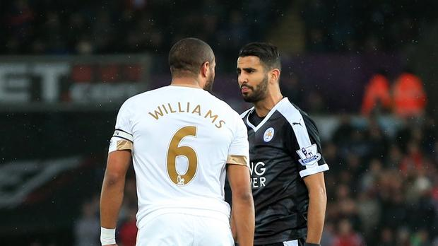 Ashley Williams, left, and Riyad Mahrez, right, exchanged words after Saturday's match