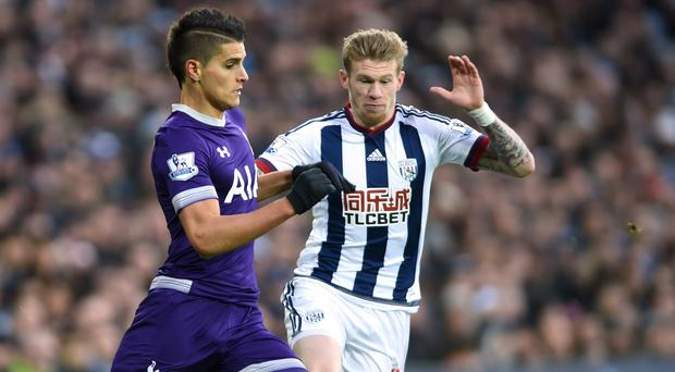 A challenge by West Brom's James McClean led to a flare-up with Tottenham players
