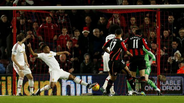 AFC Bournemouth's Joshua King scores their second goal against Manchester United