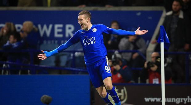 Jamie Vardy set Leicester on their way to victory over champions Chelsea