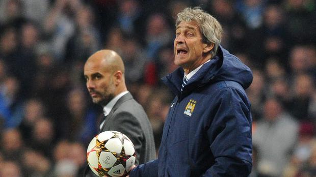 Manuel Pellegrini (right) has to deal with speculation about Pep Guardiola
