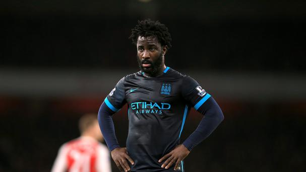 Manchester City's Wilfried Bony was dropped to the bench for the Premier League game at Arsenal.