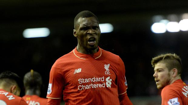 Christian Benteke celebrates his winning goal for Liverpool