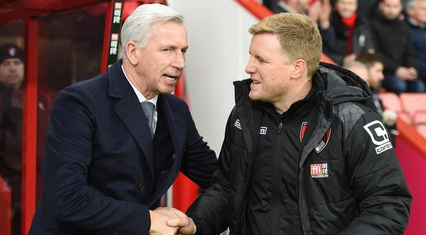 Alan Pardew, left, and Eddie Howe were content after the Boxing Day draw