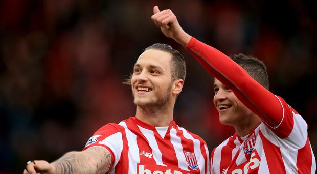 Marko Arnautovic, pictured left, scored a fine opener for Stoke on Boxing Day