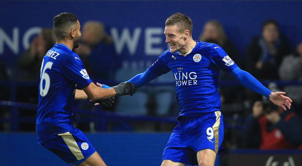 Manchester City must try to stop Leicester duo Riyad Mahrez, left, and Jamie Vardy, right