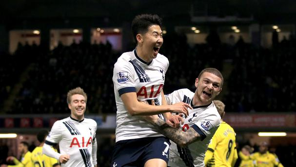 Son Heung-Min, centre, scored the winner as Tottenham beat Watford 2-1 on Monday.