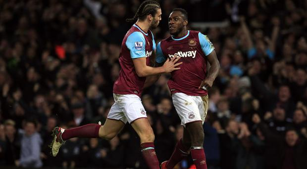 Michail Antonio, right. and Andy Carroll scored as West Ham beat Southampton