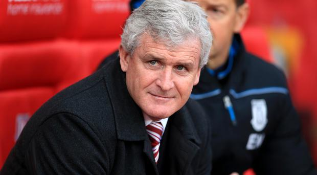 Stoke boss Mark Hughes, pictured, was glad he took a gamble on Marko Arnautovic for the Everton game.