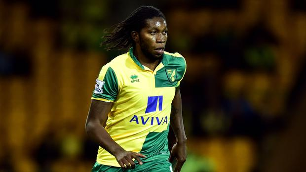 Dieumerci Mbokani scored Norwich's second goal against Aston Villa