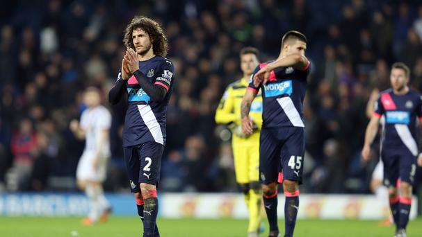 Newcastle's Fabricio Coloccini applauds the travelling fans after their 1-0 defeat at West Brom.
