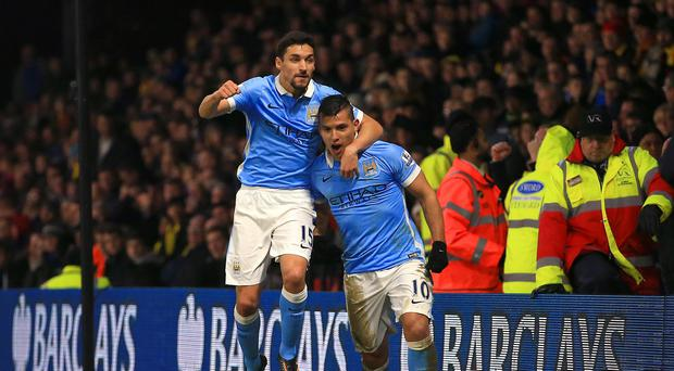 Sergio Aguero, right, was back on the scoresheet again for Manchester City