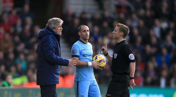 Manuel Pellegrini would like managers to have the chance to review refereeing decisions