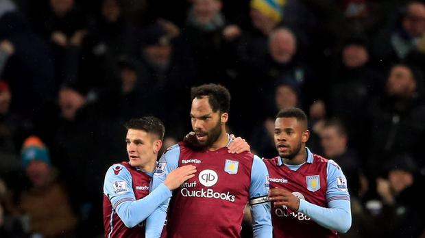 Joleon Lescott (centre) celebrates scoring the winner in Aston Villa's 1-0 victory over Crystal Palace.